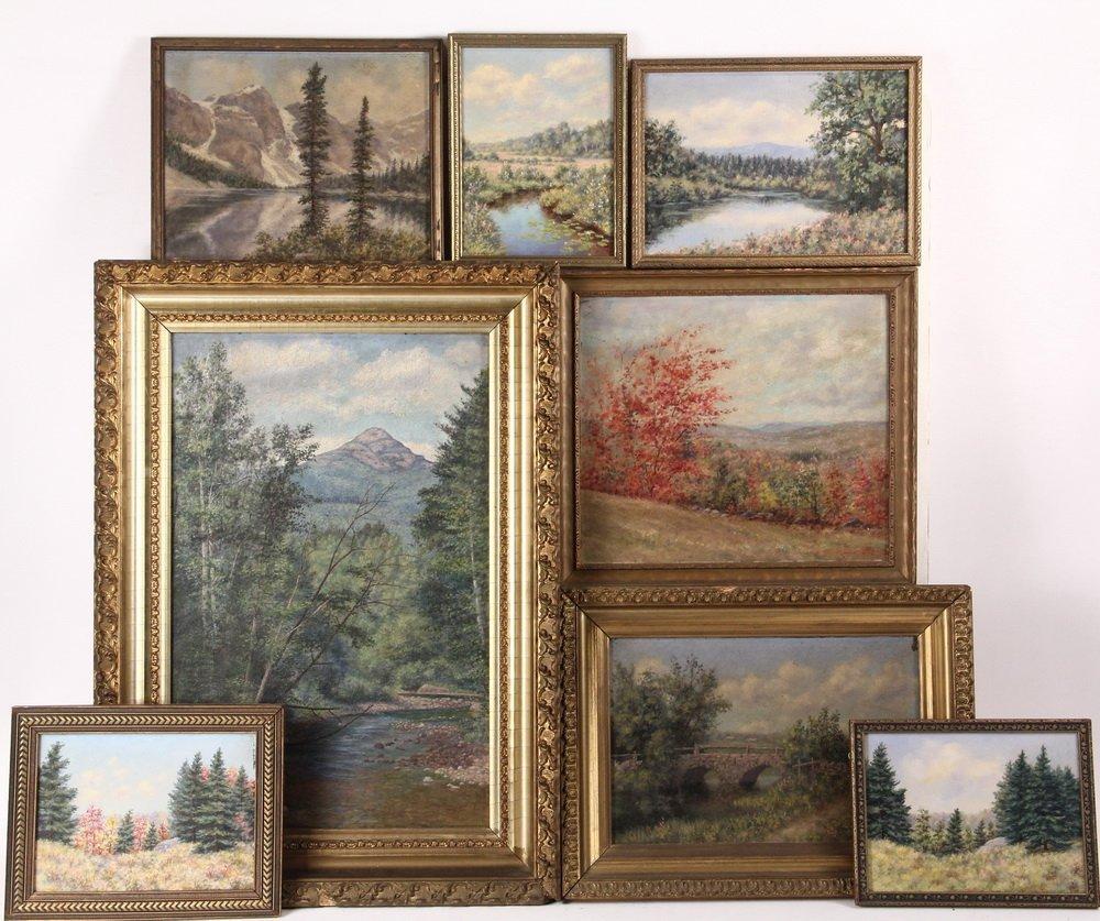 ARTHUR E. HARRIS (19th c. Mass) - (8) Landscapes, oil