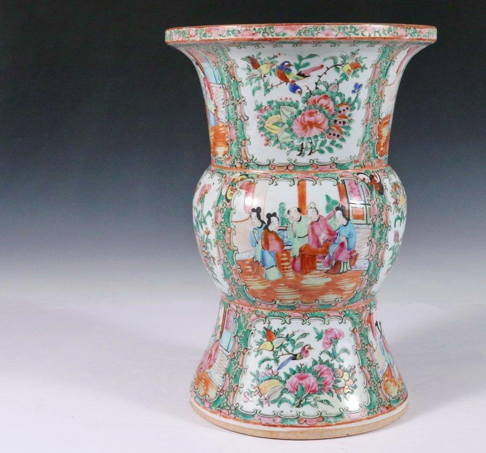 CHINESE EXPORT VASE - Large Gu form Baluster Vase with