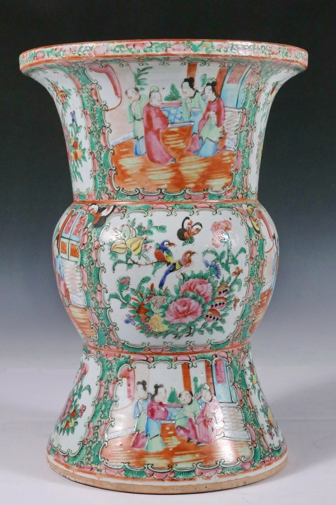 CHINESE EXPORT VASE - Large Gu form Baluster Vase with - 2