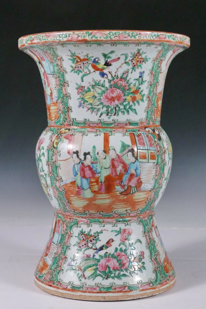 CHINESE EXPORT VASE - Large Gu form Baluster Vase with - 3