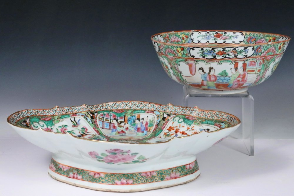 (2 PCS) CHINESE EXPORT PORCELAIN - 19th c. Rose