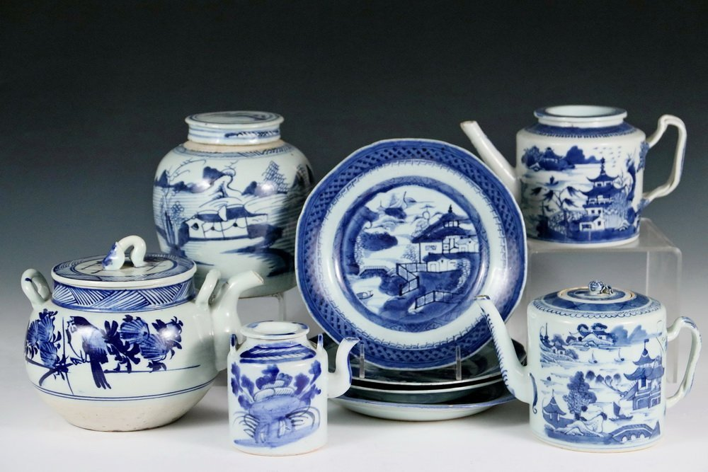 (9 PCS) CHINESE EXPORT PORCELAIN - All 19th c. Canton,