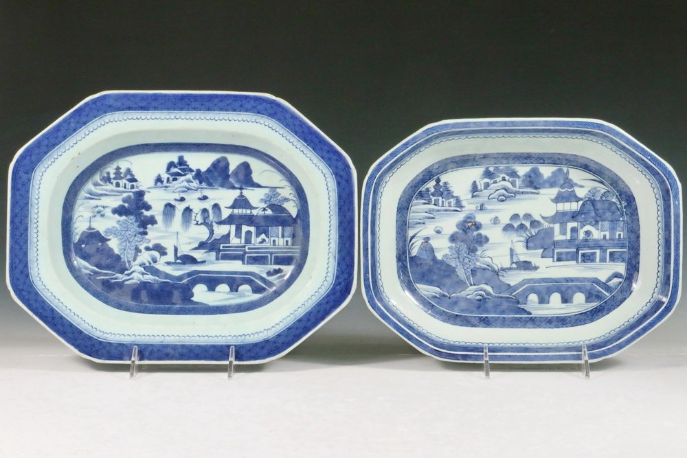 VEGETABLE DISHES - Group of (2) 19th c. Chinese Export