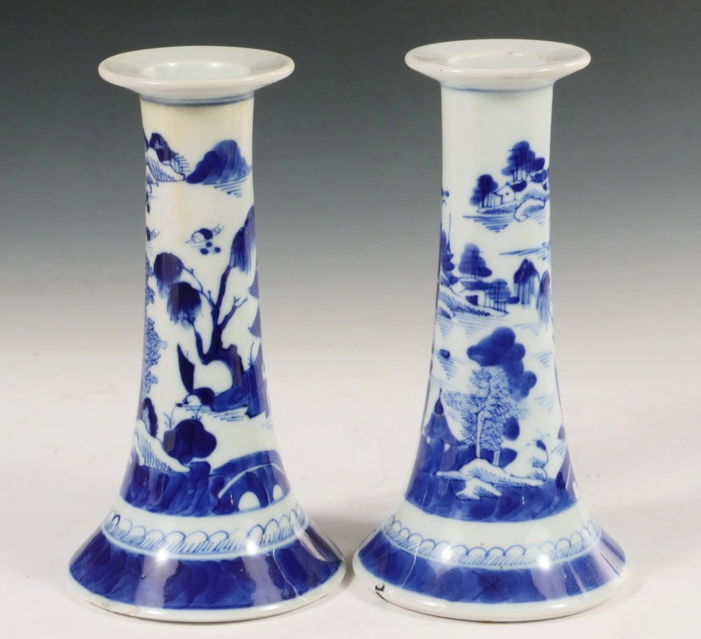 CANDLESTICKS - Pair of Early 19th c. Chinese Export