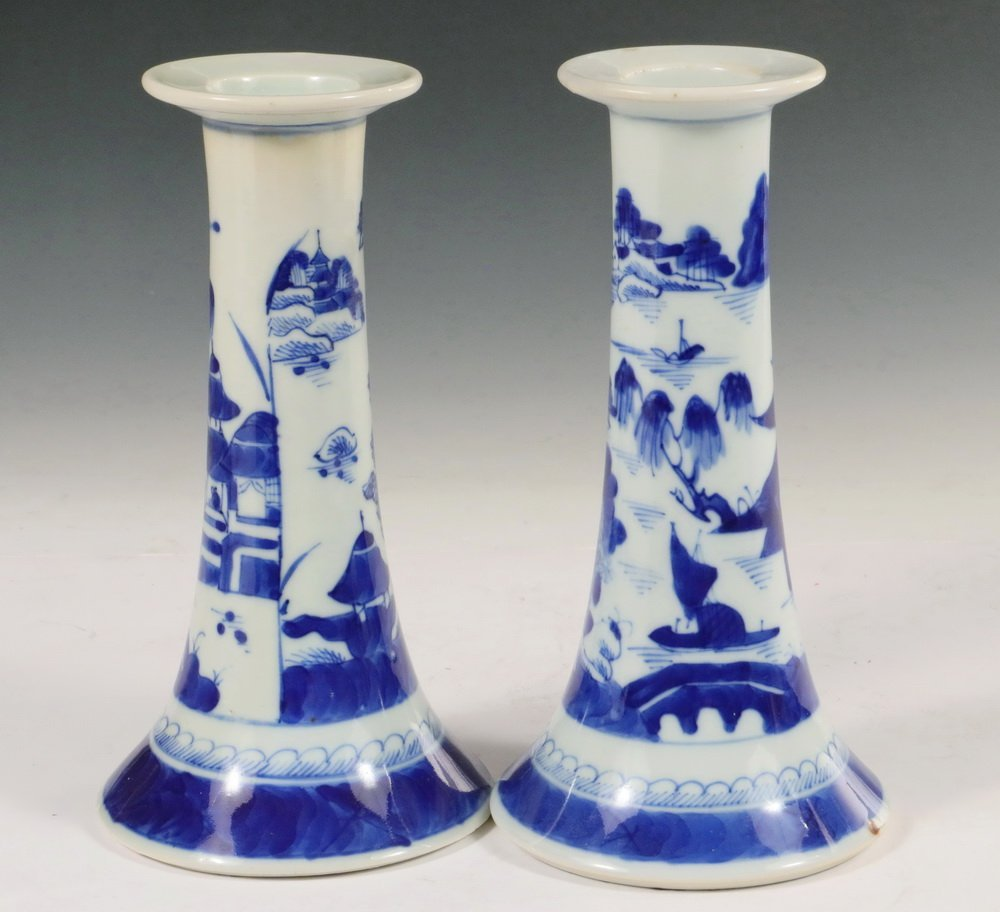 CANDLESTICKS - Pair of Early 19th c. Chinese Export - 2