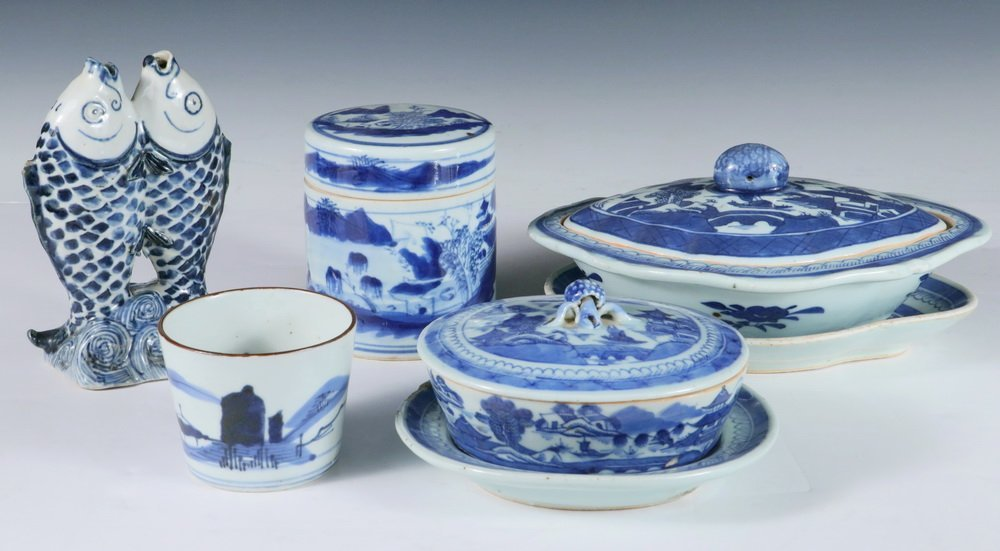 CHINESE BLUE & WHITE - Collection of (5) Pcs of 19th c.