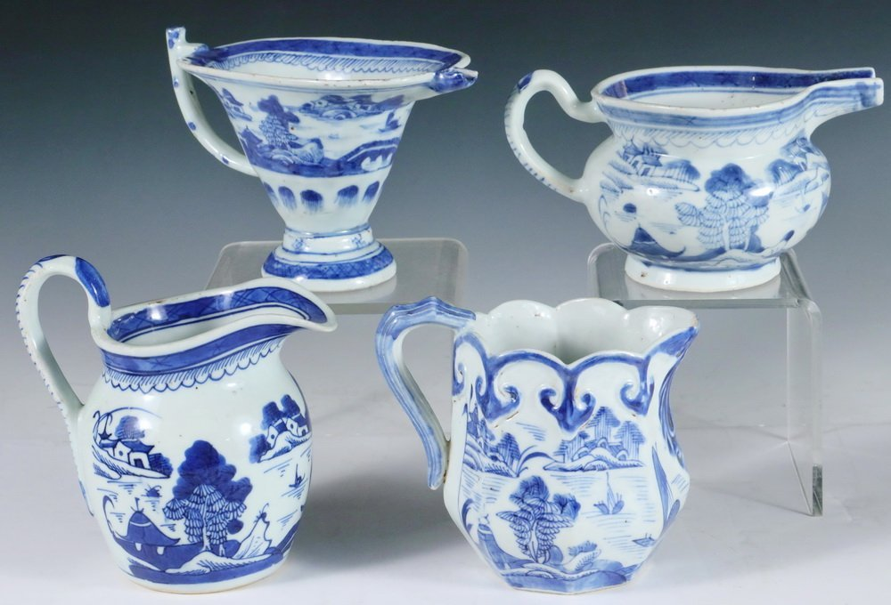 PITCHERS - Collection of (4) 19th c. Chinese Export