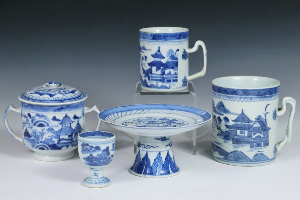 CANTON PORCELAIN - (5) Pieces of 19th c. Chinese Export