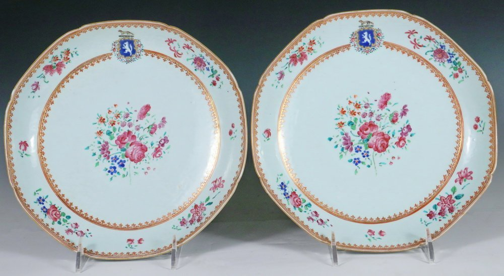 PLATES - Pair of 18th c. Chinese Export Famille Rose