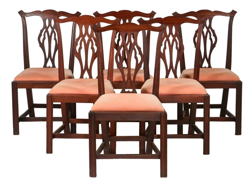 (SET OF 6) CHIPPENDALE DINING CHAIRS - Assembled Set of