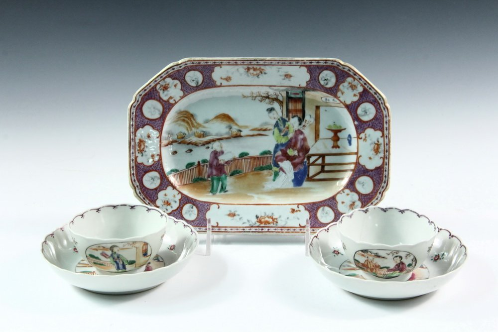 (5 PCS) CHINESE EXPORT PORCELAIN - All late 18th c., in