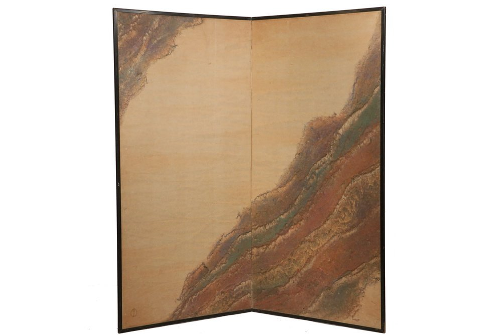 MODERNIST JAPANESE FOLDING SCREEN - Two-Panel Room