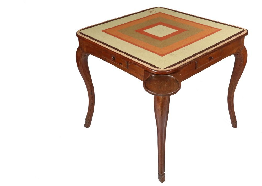 NEEDLEPOINT TOP GAMING TABLE - 19th c. French