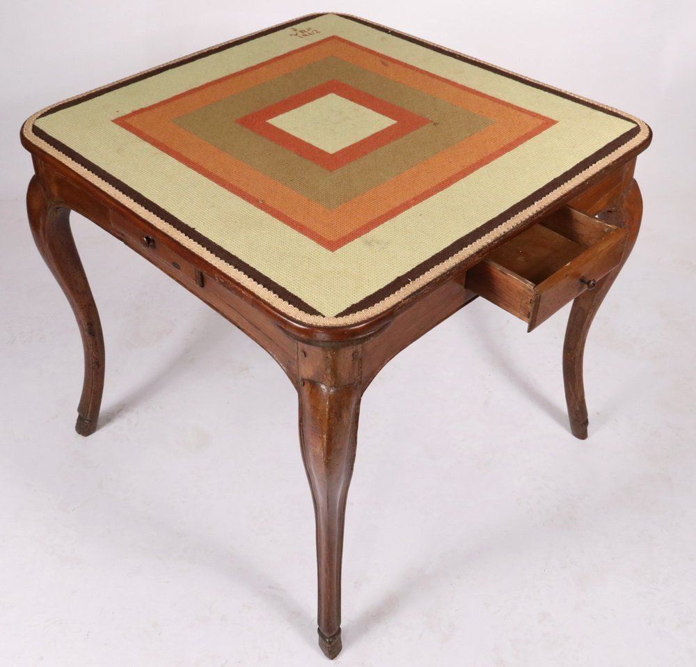 NEEDLEPOINT TOP GAMING TABLE - 19th c. French - 2