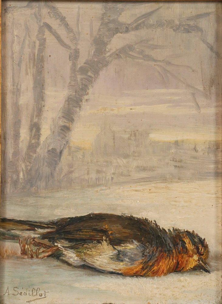 """ANNA SEDILLOT (19th c. Belgium) - """"Rouge-Gorge"""", oil on - 2"""