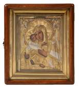RUSSIAN ICON  Madonna and Child with parcel gilt