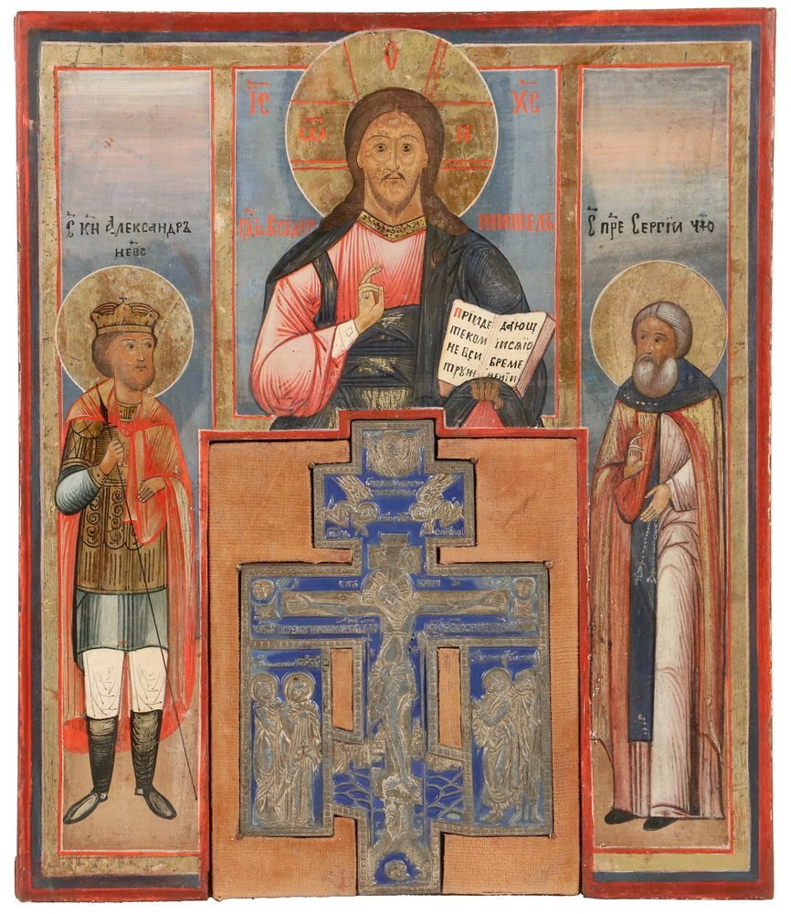 RUSSIAN ICON - St. Alexander, St. Serge and Christ, egg