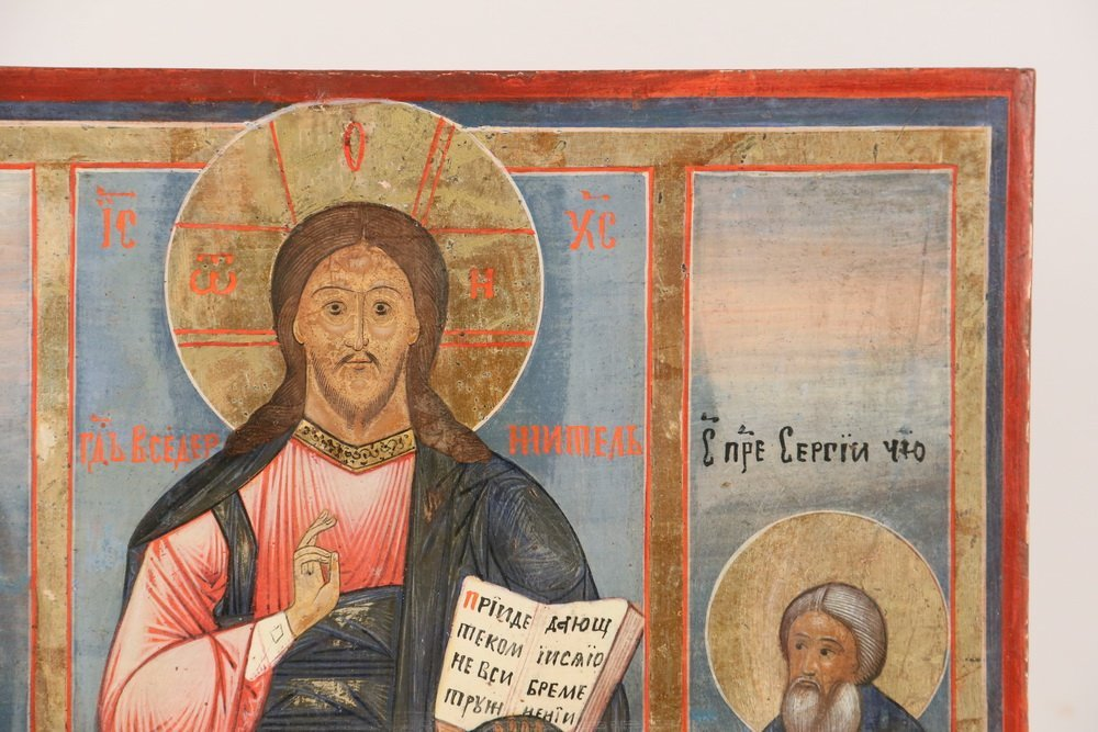 RUSSIAN ICON - St. Alexander, St. Serge and Christ, egg - 3