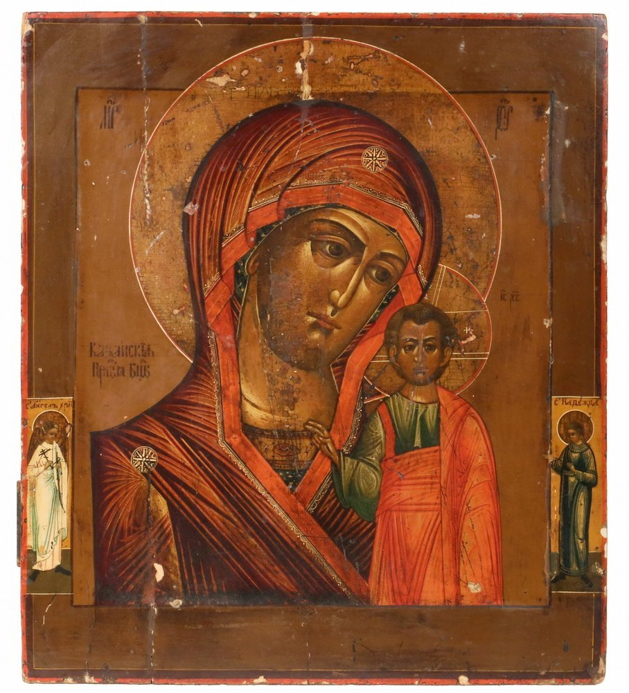 RUSSIAN ICON - 19th c. Madonna and Child flanked by