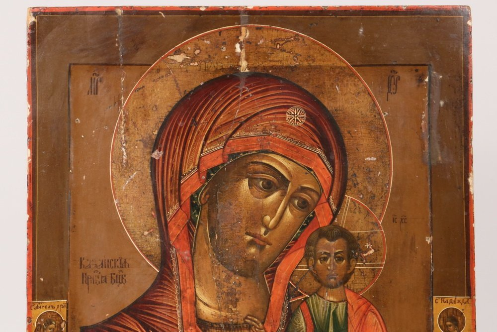 RUSSIAN ICON - 19th c. Madonna and Child flanked by - 2
