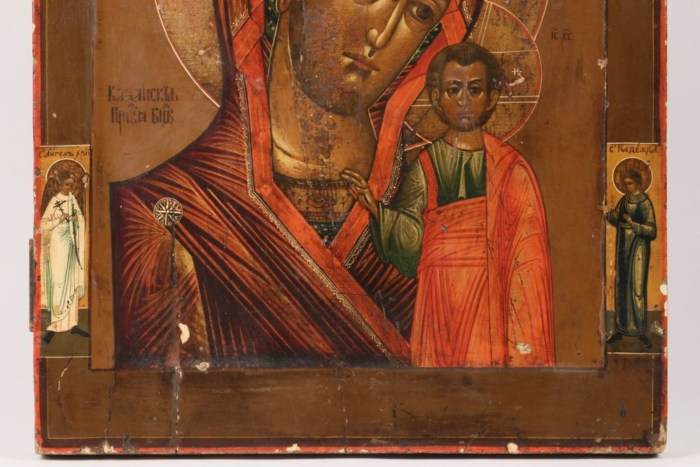 RUSSIAN ICON - 19th c. Madonna and Child flanked by - 3