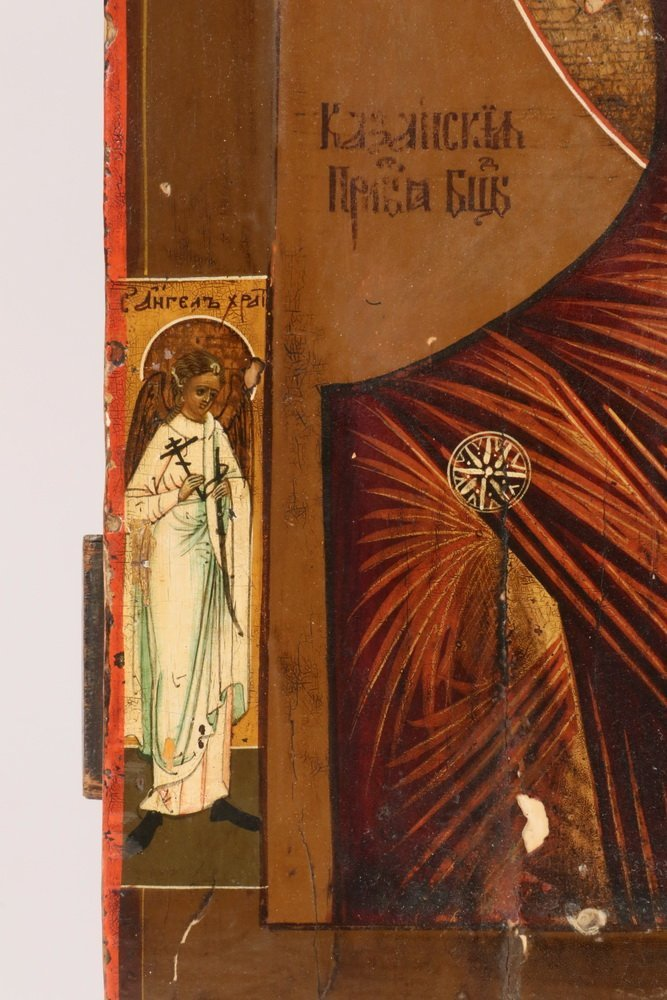 RUSSIAN ICON - 19th c. Madonna and Child flanked by - 4