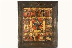 RUSSIAN ICON  18th c Orthodox Icon of the Life of the