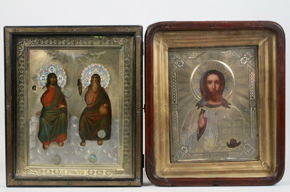 (2) RUSSIAN ICONS - Both 19th c., oil on panel with