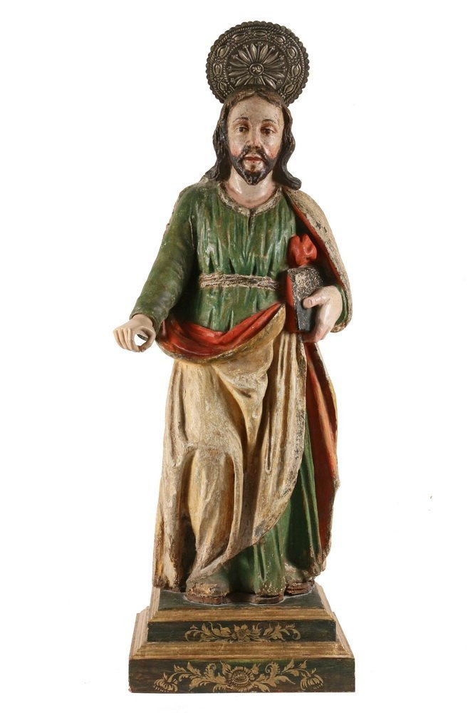 SPANISH COLONIAL RELIGIOUS STATUE - Large Figure of