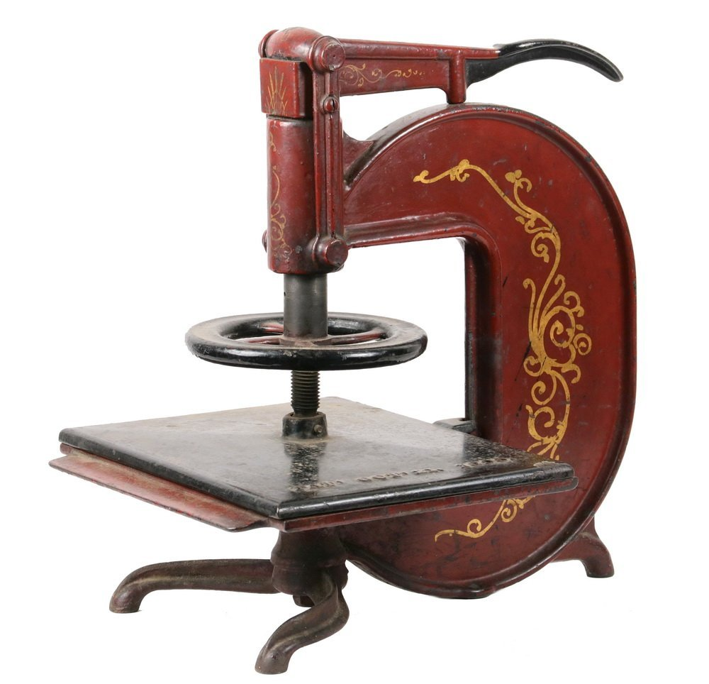 CAST IRON BOOK PRESS - 19th c. Lever Release Book