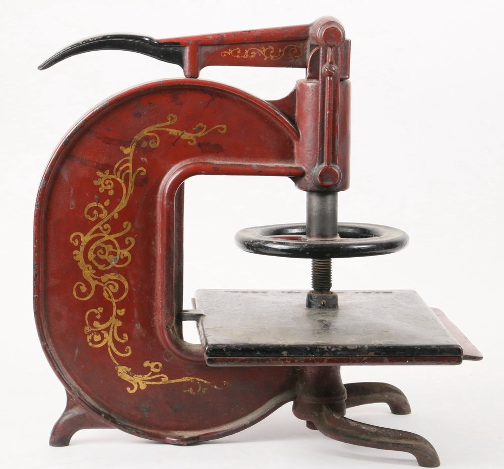 CAST IRON BOOK PRESS - 19th c. Lever Release Book - 3