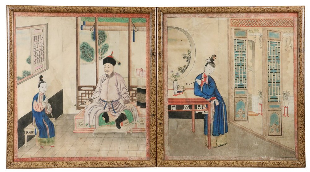 PAIR OF CHINESE ANCESTRAL PORTRAITS - Qing Dynasty 18th