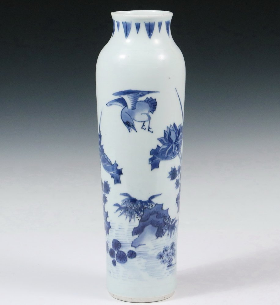 MING PORCELAIN VASE - Diminutive Blue and White Sleeve