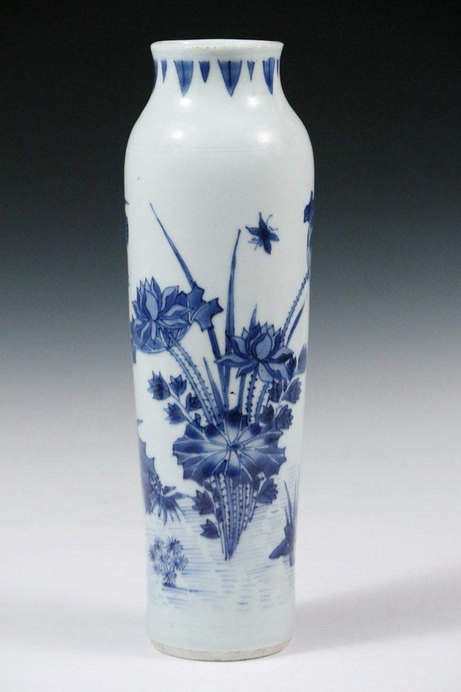 MING PORCELAIN VASE - Diminutive Blue and White Sleeve - 2