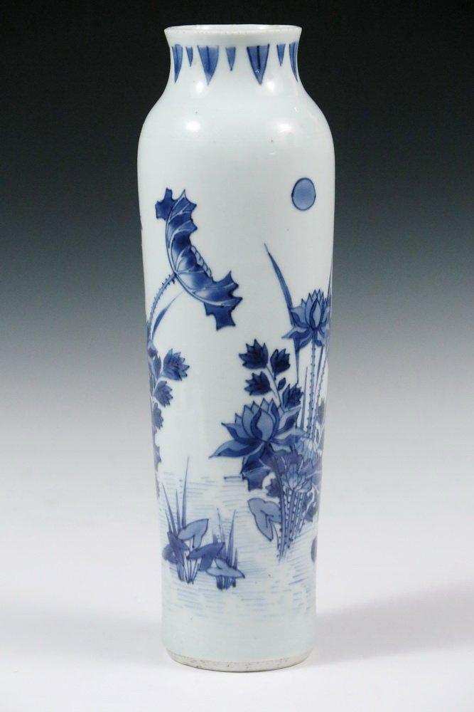 MING PORCELAIN VASE - Diminutive Blue and White Sleeve - 3