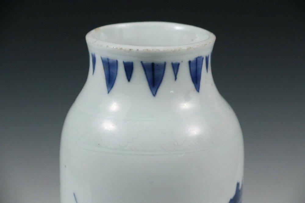 MING PORCELAIN VASE - Diminutive Blue and White Sleeve - 4