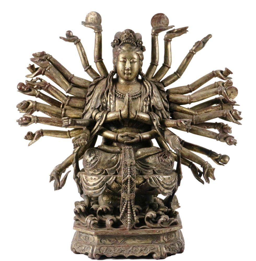 CHINESE GILT WOOD BUDDHIST SCULPTURE - 19th c.