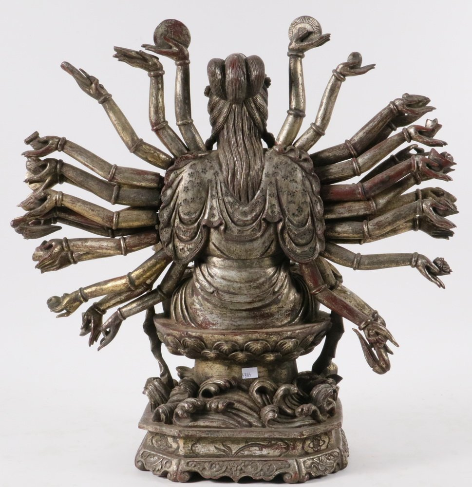 CHINESE GILT WOOD BUDDHIST SCULPTURE - 19th c. - 5