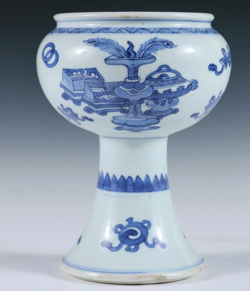 STEM BOWL - Chinese 18th c. Blue & White Decorated