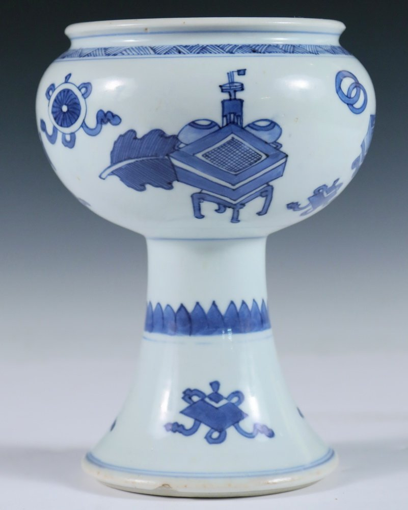 STEM BOWL - Chinese 18th c. Blue & White Decorated - 2