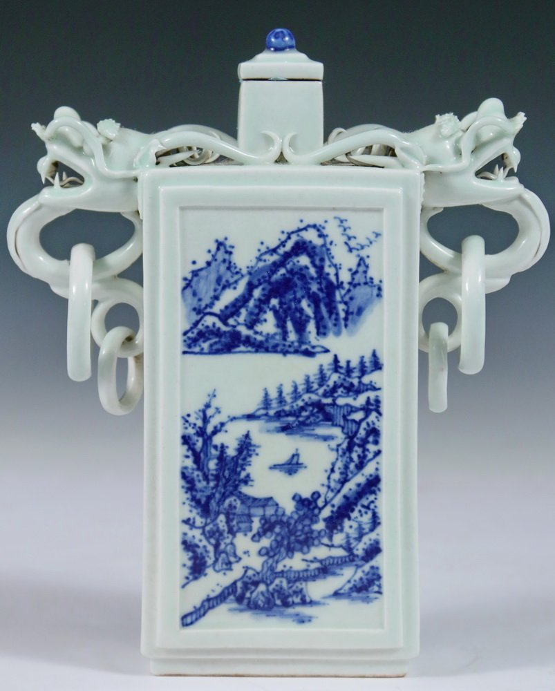 VASE - Unusual 19th c. Chinese Porcelain Rectangular