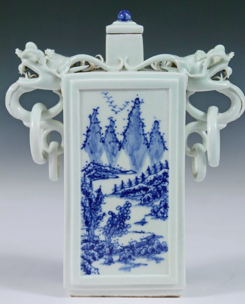 VASE - Unusual 19th c. Chinese Porcelain Rectangular - 3