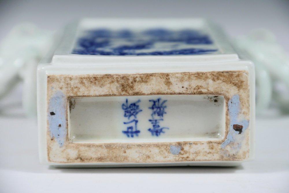 VASE - Unusual 19th c. Chinese Porcelain Rectangular - 4