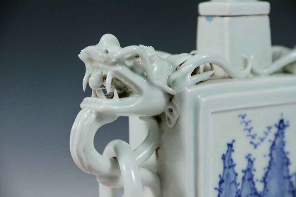 VASE - Unusual 19th c. Chinese Porcelain Rectangular - 5