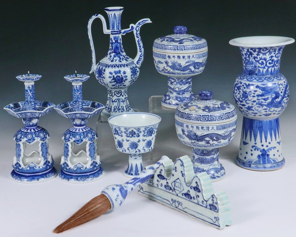 CHINESE PORCELAIN - Collection of (9) 20th c.