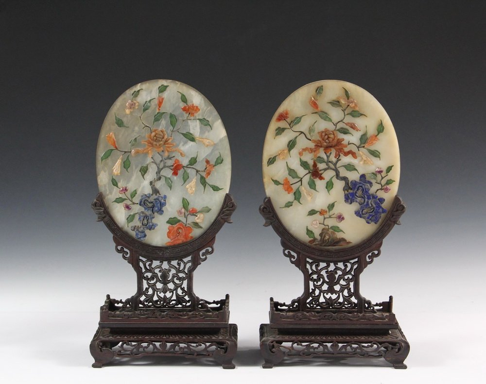 PAIR OF CHINESE JADE TABLETOP SCREENS - Early 20th c.