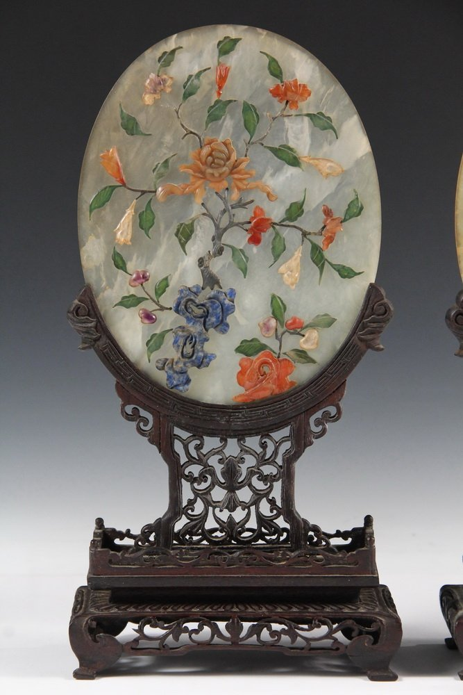 PAIR OF CHINESE JADE TABLETOP SCREENS - Early 20th c. - 2