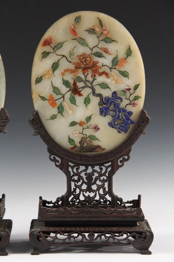 PAIR OF CHINESE JADE TABLETOP SCREENS - Early 20th c. - 3