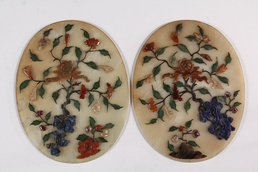 PAIR OF CHINESE JADE TABLETOP SCREENS - Early 20th c. - 4