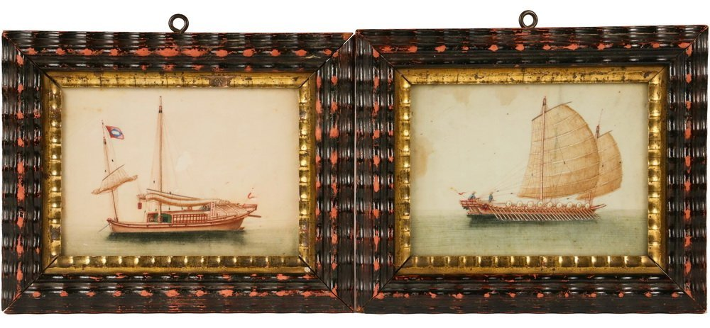 PAIR OF FRAMED CHINESE PITH PAINTINGS - Mid 19th c.